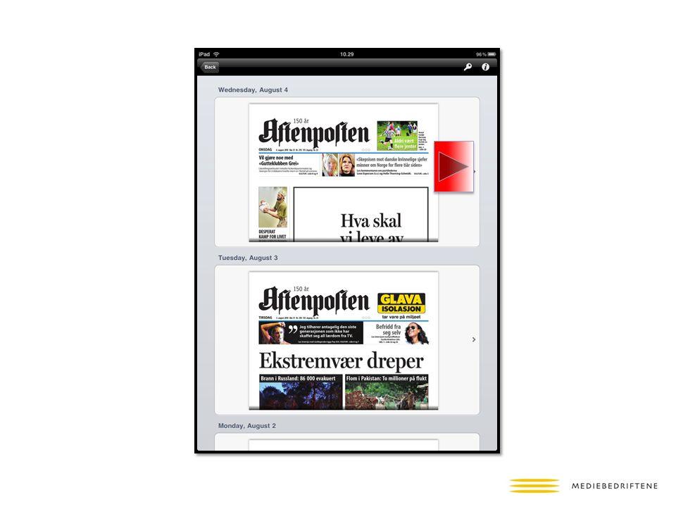 Her en iPad-utgave av Aftenposten.