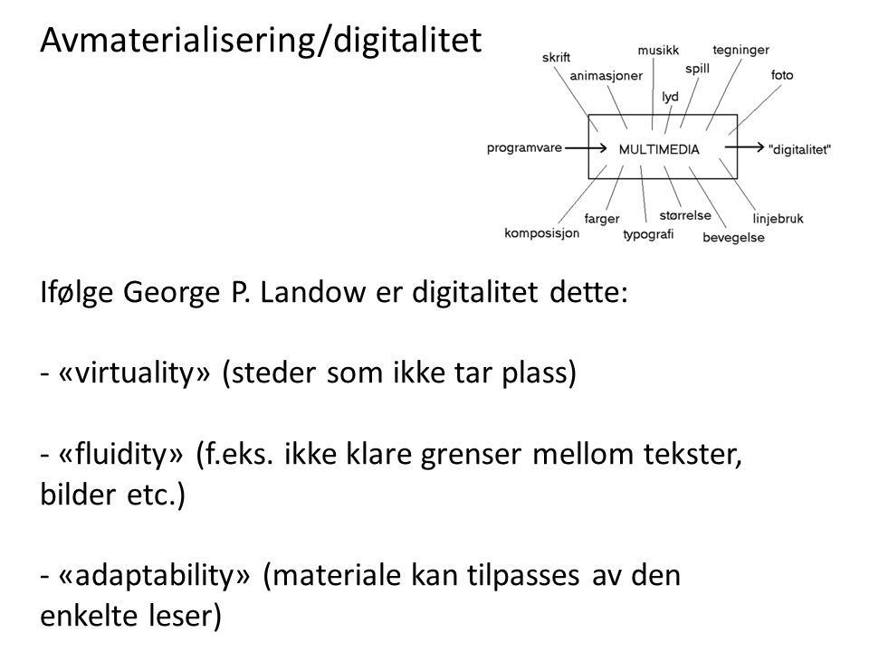 Avmaterialisering/digitalitet