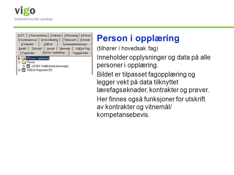 Person i opplæring (tilhører i hovedsak fag) Inneholder opplysninger og data på alle personer i opplæring.