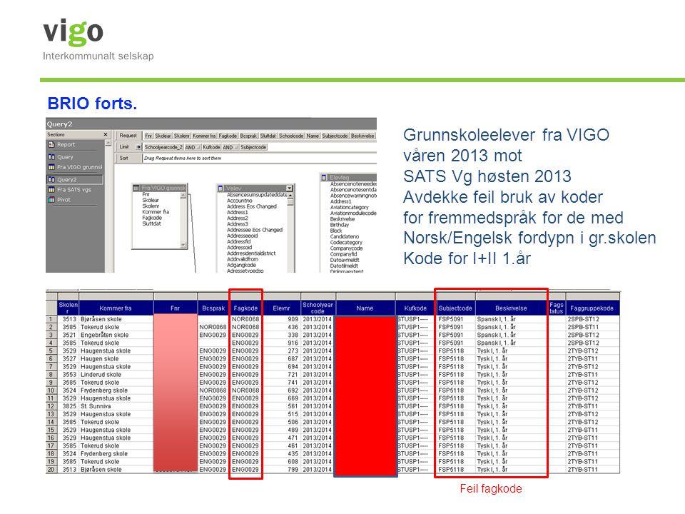 Grunnskoleelever fra VIGO våren 2013 mot SATS Vg høsten 2013