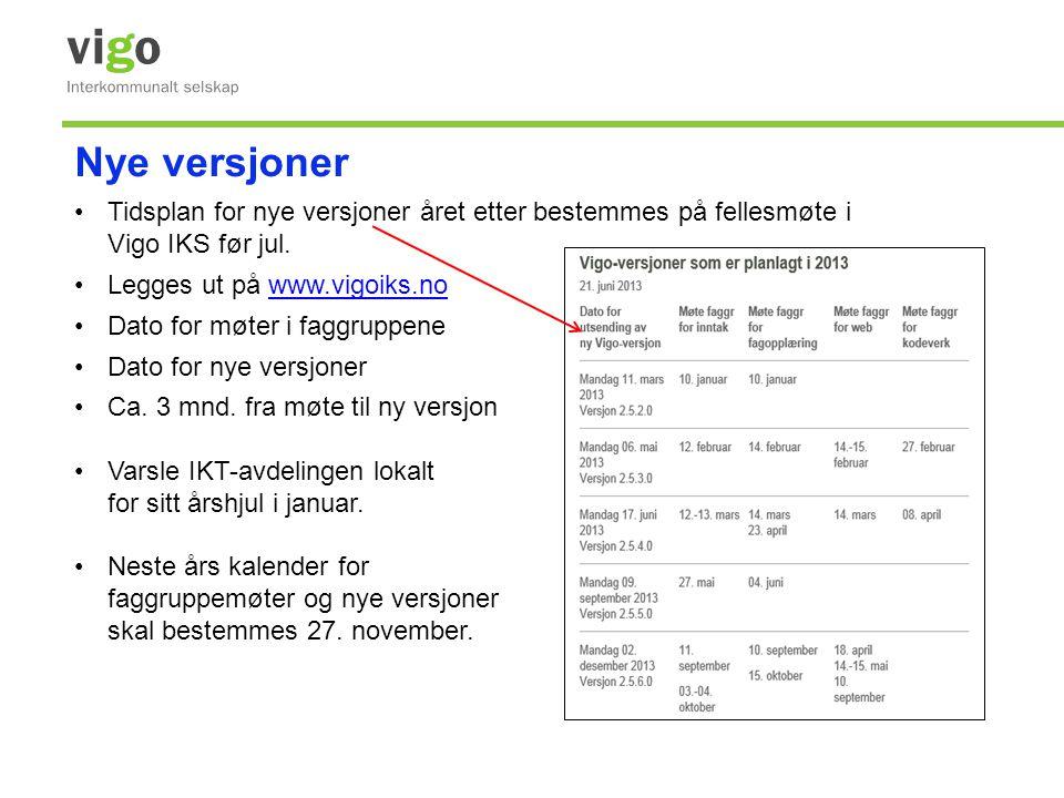 Nye versjoner Tidsplan for nye versjoner året etter bestemmes på fellesmøte i Vigo IKS før jul. Legges ut på www.vigoiks.no.