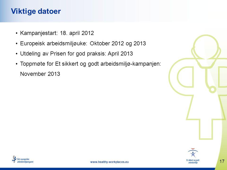 Viktige datoer Kampanjestart: 18. april 2012