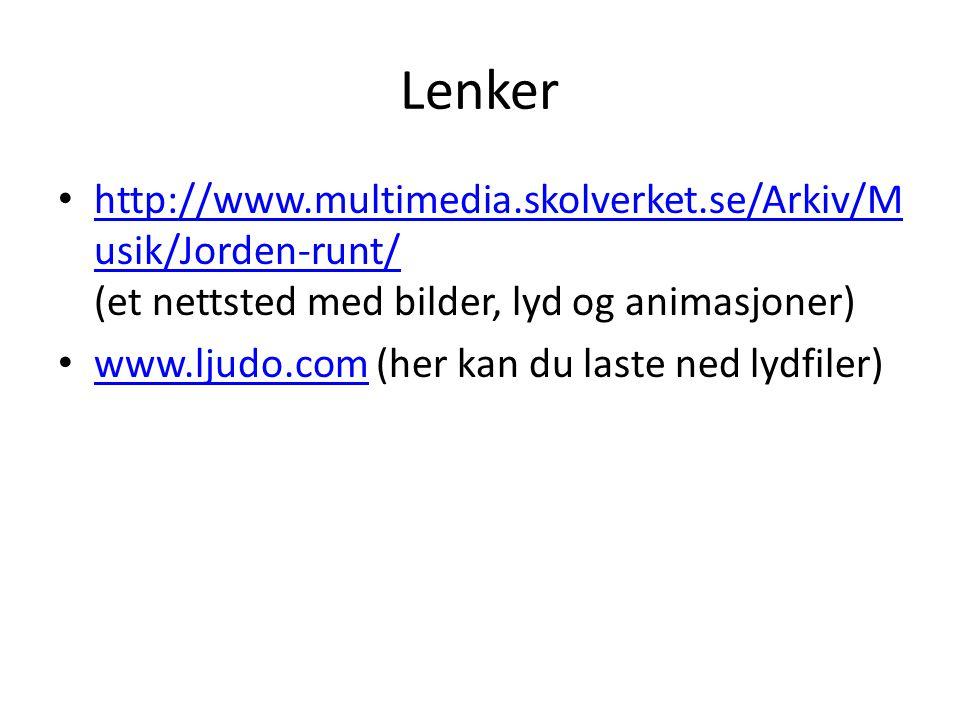 Lenker http://www.multimedia.skolverket.se/Arkiv/Musik/Jorden-runt/ (et nettsted med bilder, lyd og animasjoner)