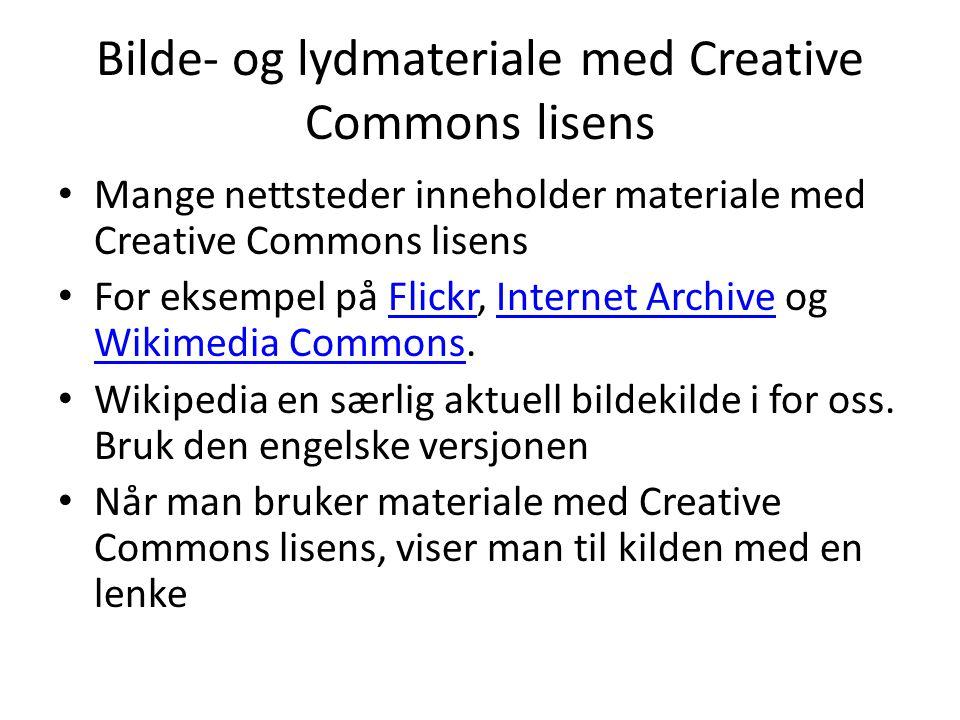 Bilde- og lydmateriale med Creative Commons lisens
