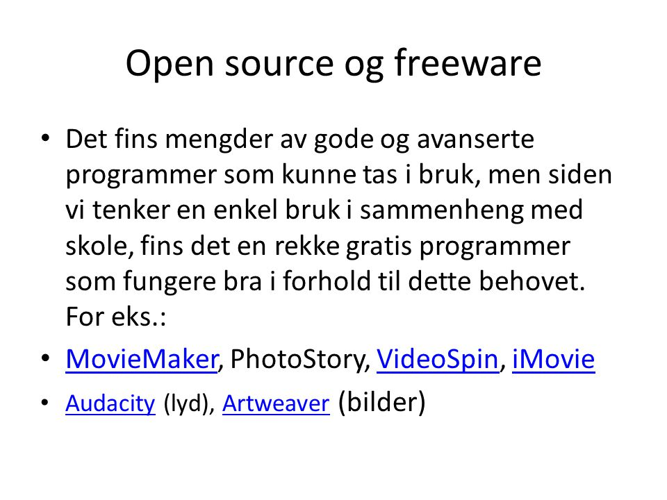 Open source og freeware