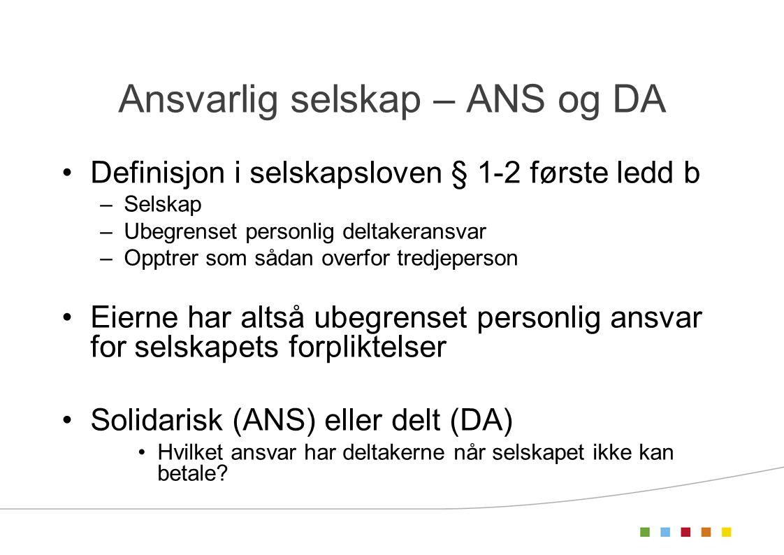 Ansvarlig selskap – ANS og DA