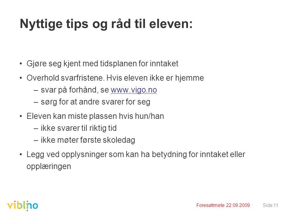 Nyttige tips og råd til eleven: