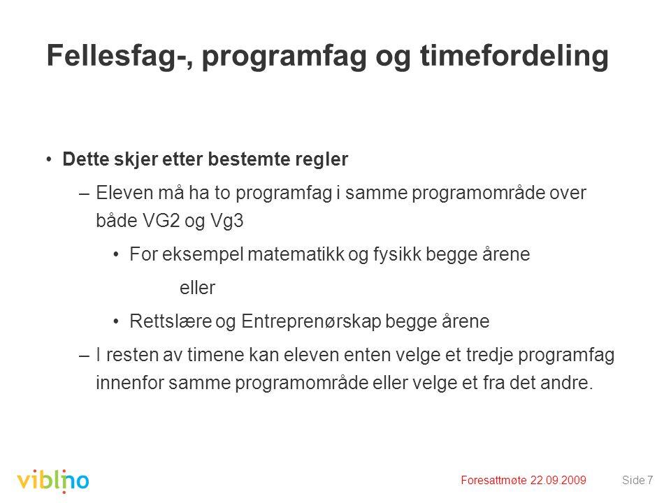 Fellesfag-, programfag og timefordeling
