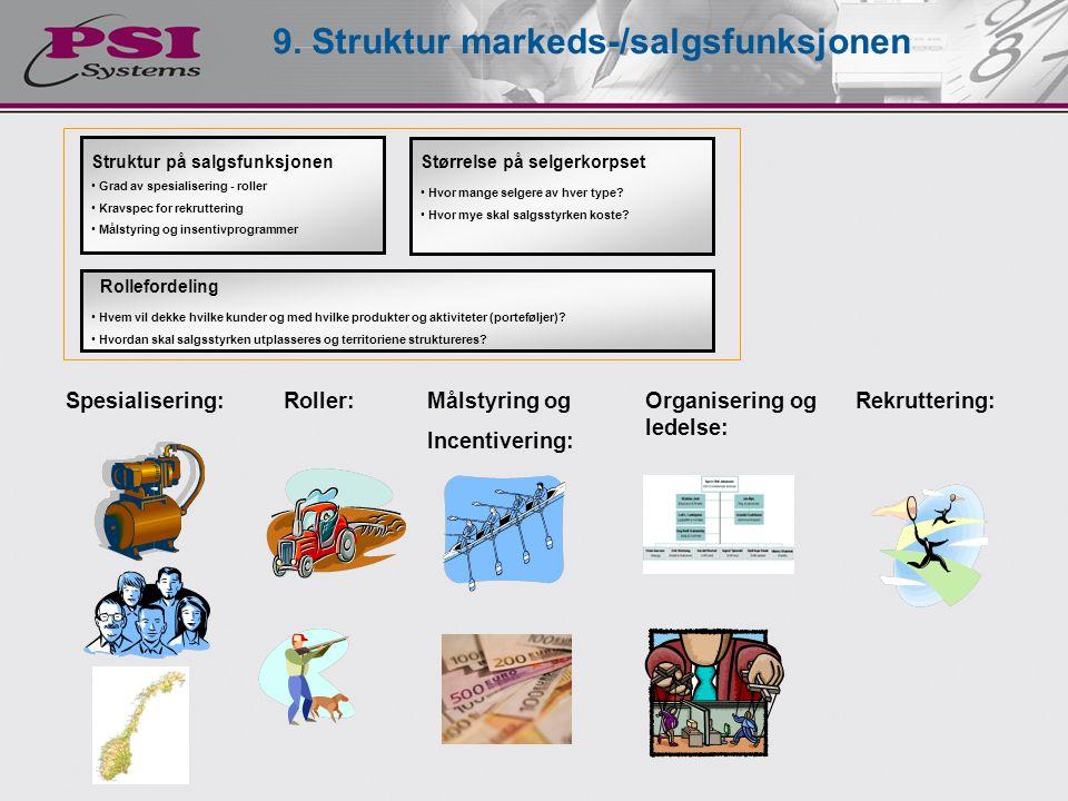 9. Struktur markeds-/salgsfunksjonen