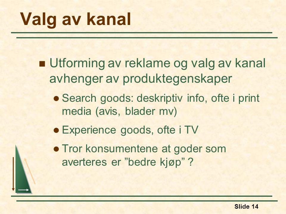 Valg av kanal Utforming av reklame og valg av kanal avhenger av produktegenskaper.