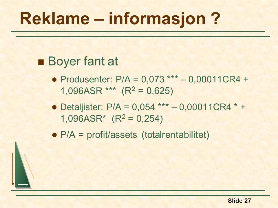 Reklame – informasjon Boyer fant at