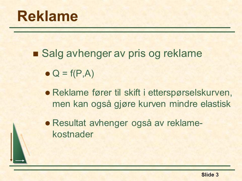 Reklame Salg avhenger av pris og reklame Q = f(P,A)