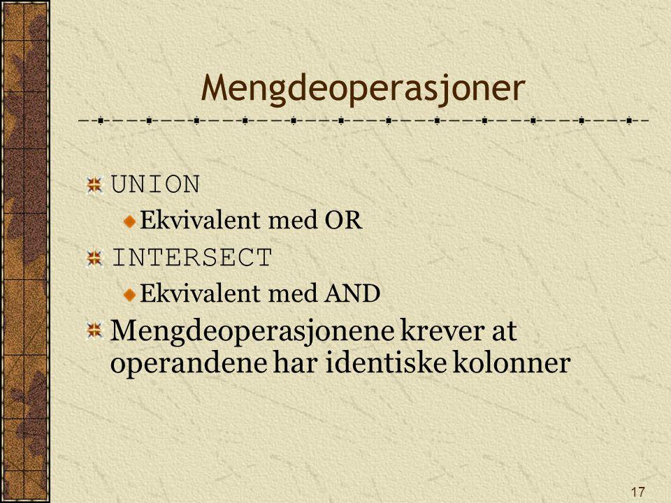 Mengdeoperasjoner UNION INTERSECT