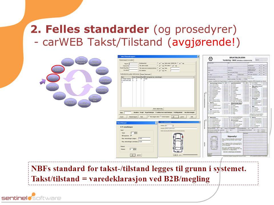 2. Felles standarder (og prosedyrer) - carWEB Takst/Tilstand (avgjørende!)