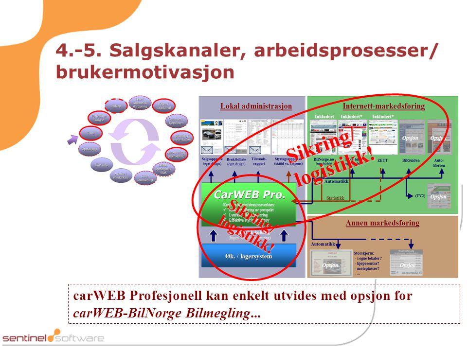 4.-5. Salgskanaler, arbeidsprosesser/ brukermotivasjon