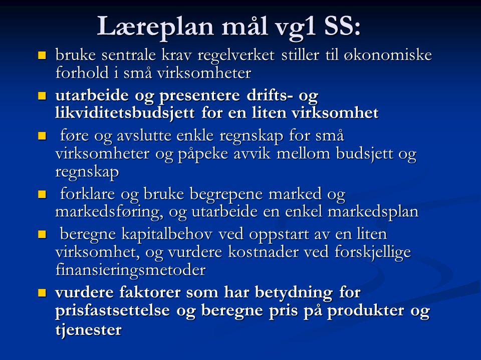 Læreplan mål vg1 SS: bruke sentrale krav regelverket stiller til økonomiske forhold i små virksomheter.