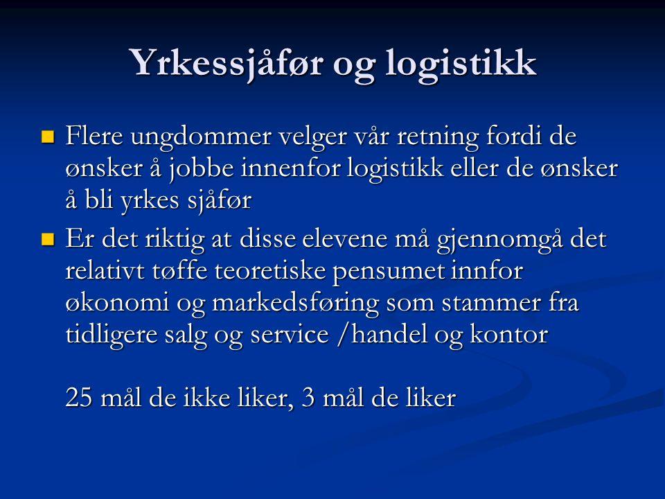 Yrkessjåfør og logistikk