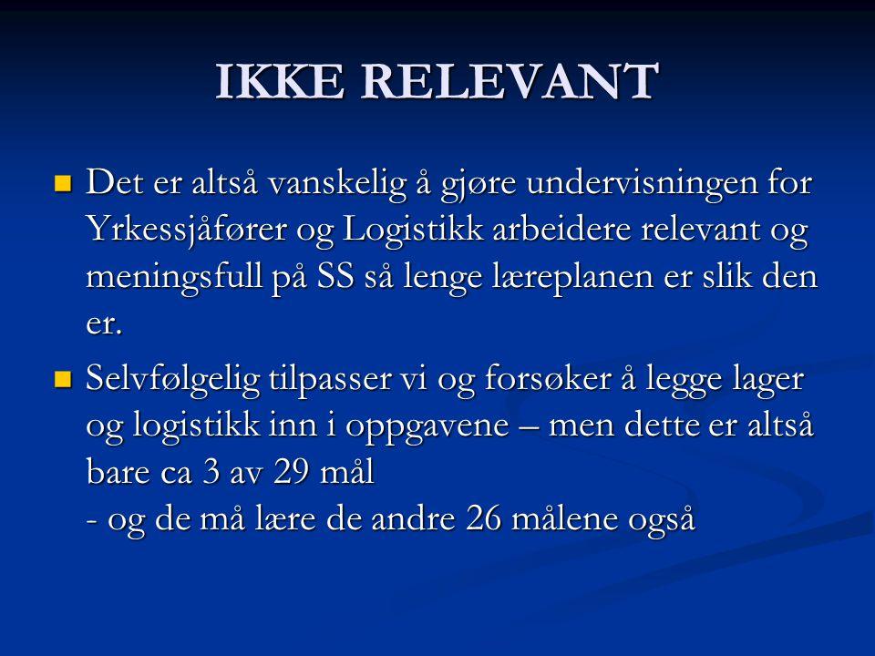 IKKE RELEVANT