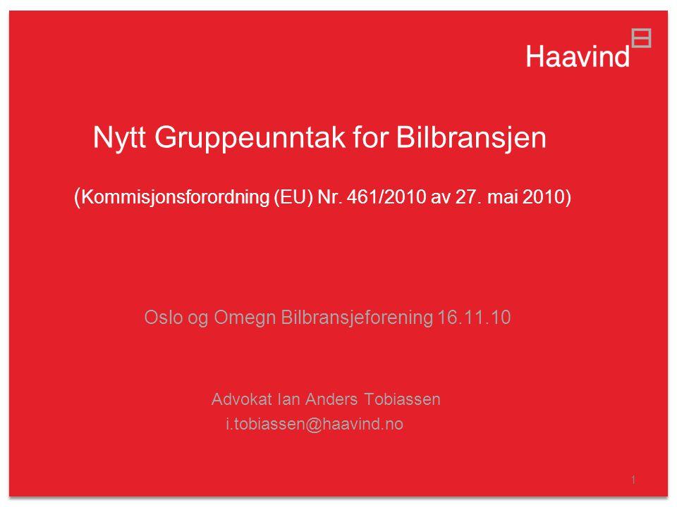 Nytt Gruppeunntak for Bilbransjen (Kommisjonsforordning (EU) Nr