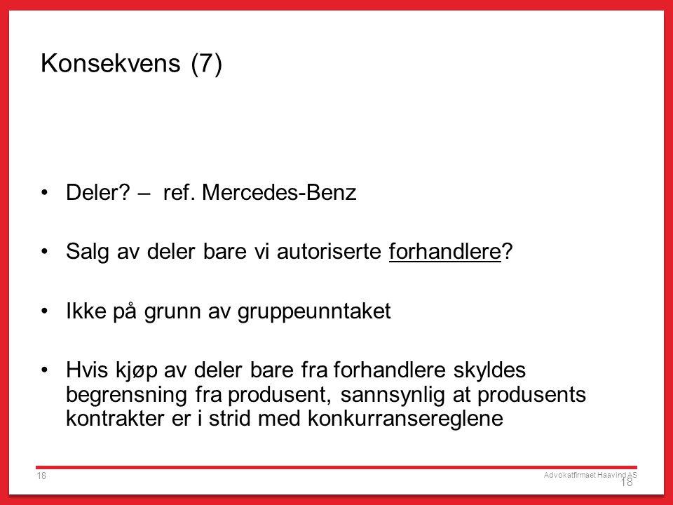 Konsekvens (7) Deler – ref. Mercedes-Benz
