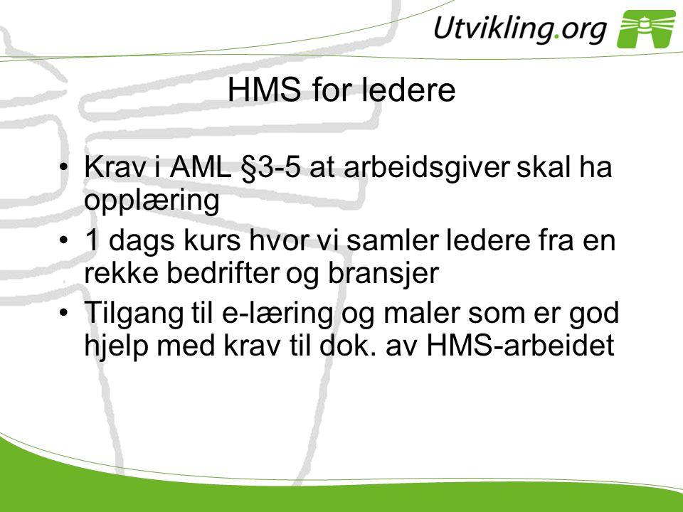HMS for ledere Krav i AML §3-5 at arbeidsgiver skal ha opplæring