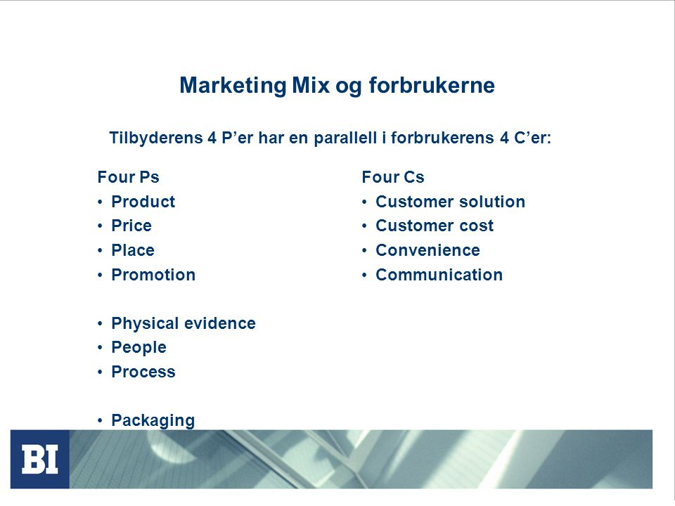Marketing Mix og forbrukerne