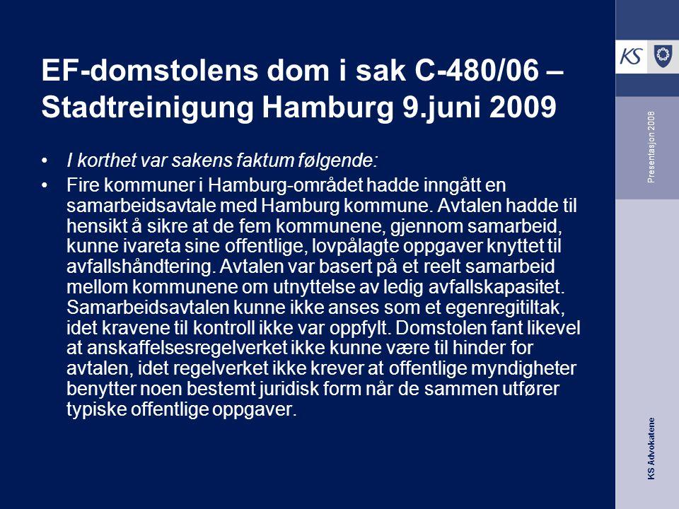 EF-domstolens dom i sak C-480/06 – Stadtreinigung Hamburg 9.juni 2009
