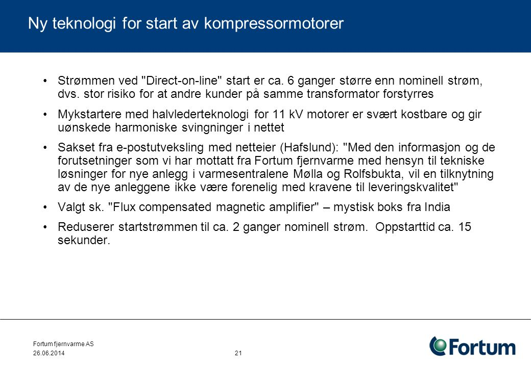 Ny teknologi for start av kompressormotorer