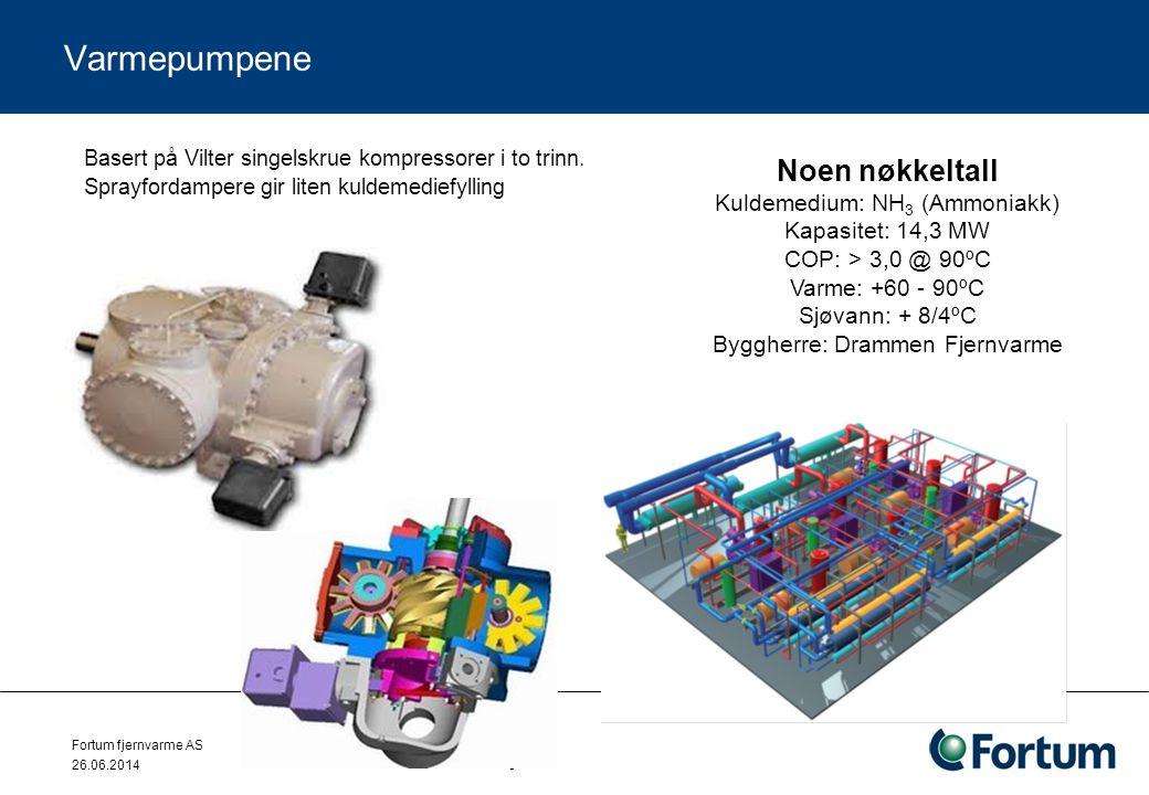 Varmepumpene Noen nøkkeltall Kuldemedium: NH3 (Ammoniakk)