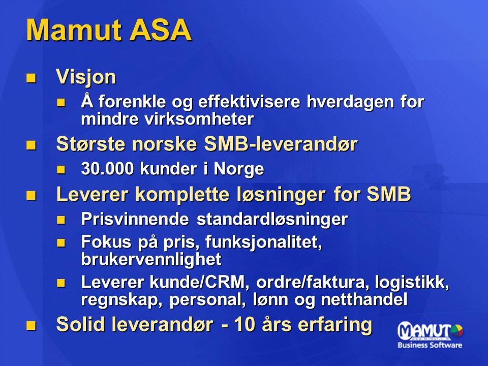 Mamut ASA Visjon Største norske SMB-leverandør
