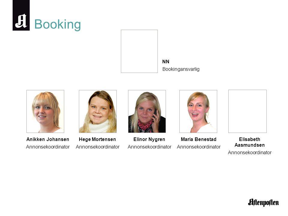 Booking NN Bookingansvarlig Anikken Johansen Annonsekoordinator