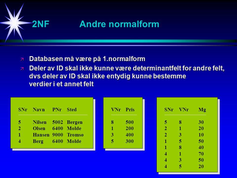 2NF Andre normalform Databasen må være på 1.normalform