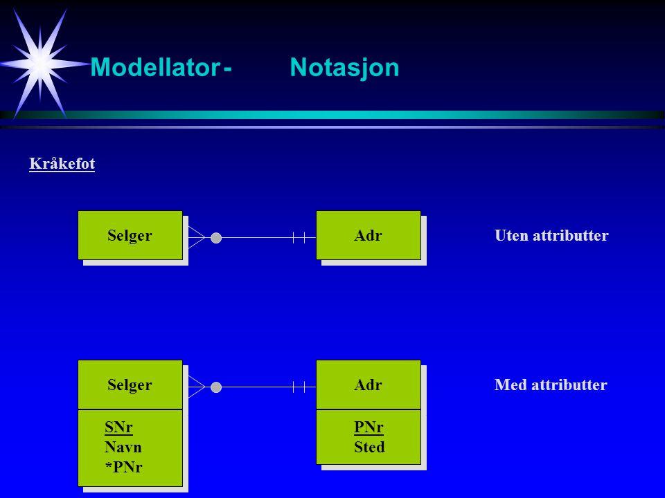 Modellator - Notasjon Kråkefot Selger Adr Uten attributter Selger Adr