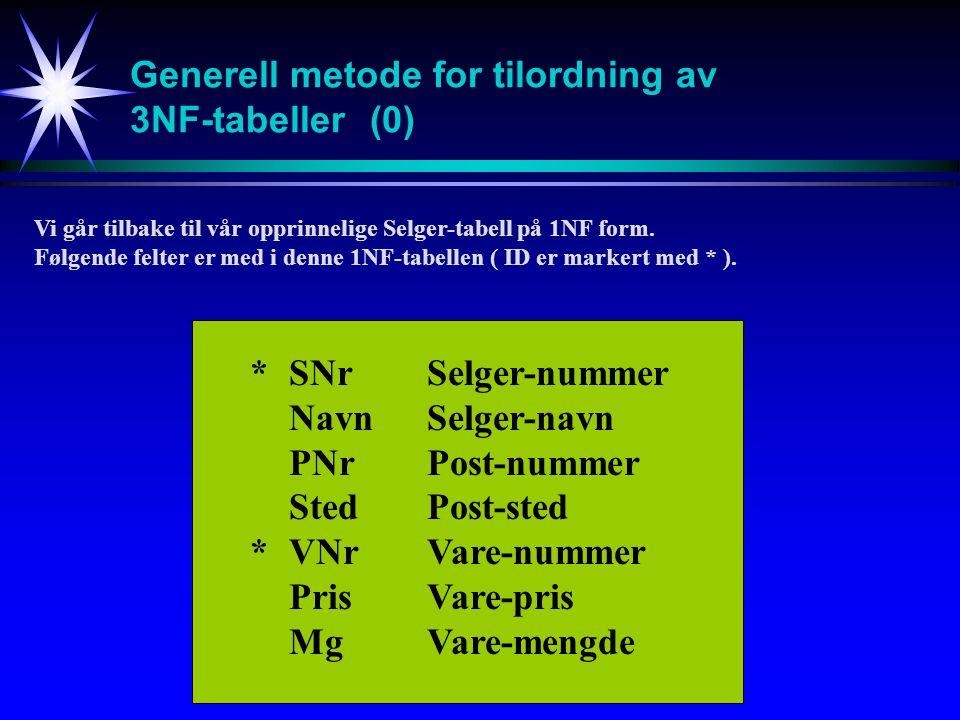 Generell metode for tilordning av 3NF-tabeller (0)