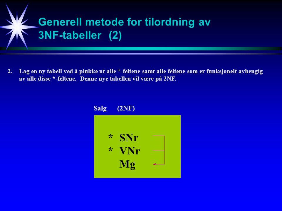 Generell metode for tilordning av 3NF-tabeller (2)