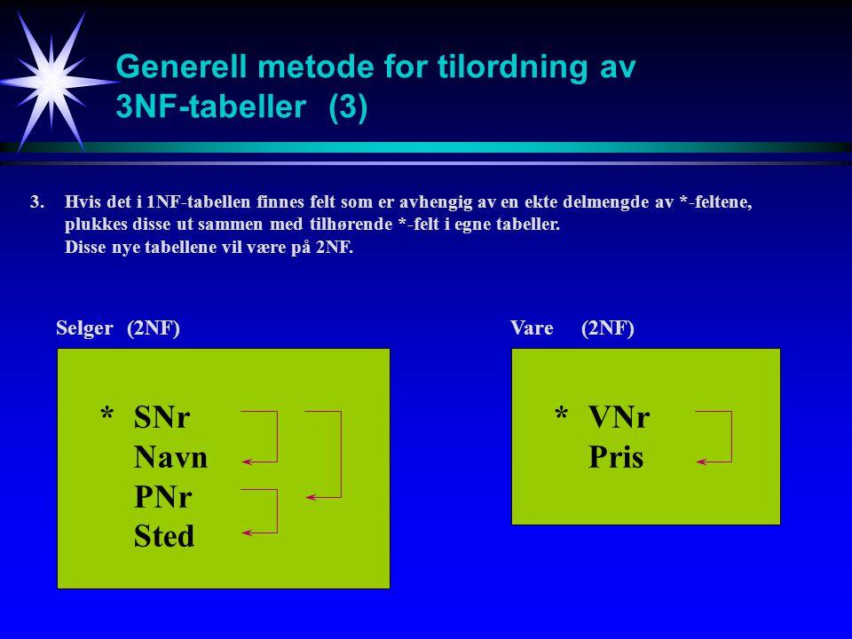 Generell metode for tilordning av 3NF-tabeller (3)