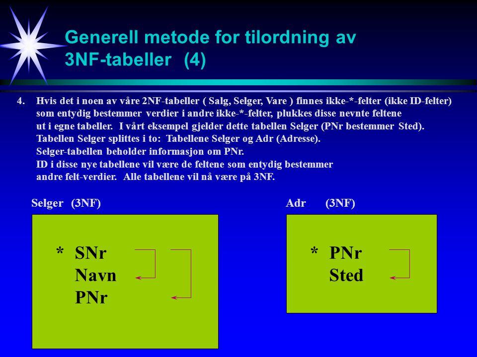 Generell metode for tilordning av 3NF-tabeller (4)