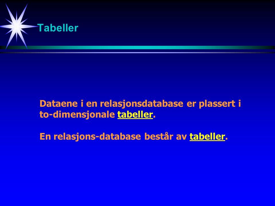 Tabeller Dataene i en relasjonsdatabase er plassert i