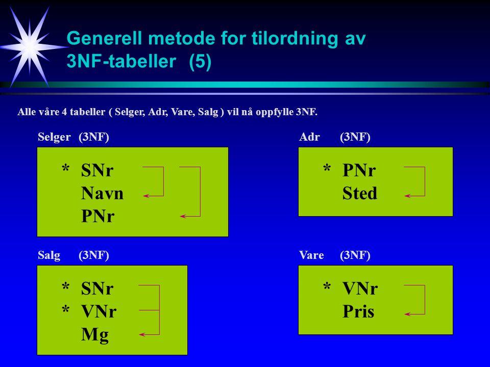 Generell metode for tilordning av 3NF-tabeller (5)