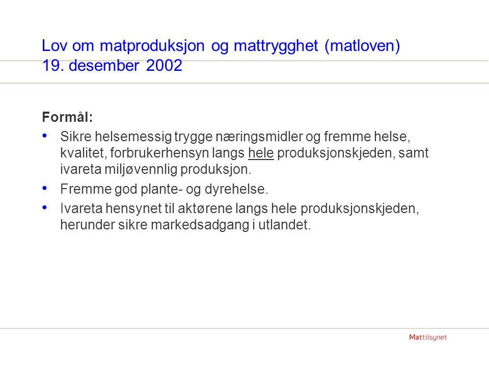 Lov om matproduksjon og mattrygghet (matloven) 19. desember 2002