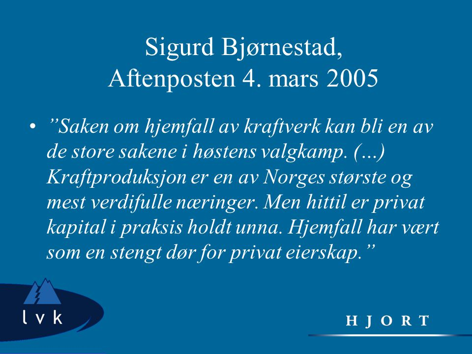 Sigurd Bjørnestad, Aftenposten 4. mars 2005