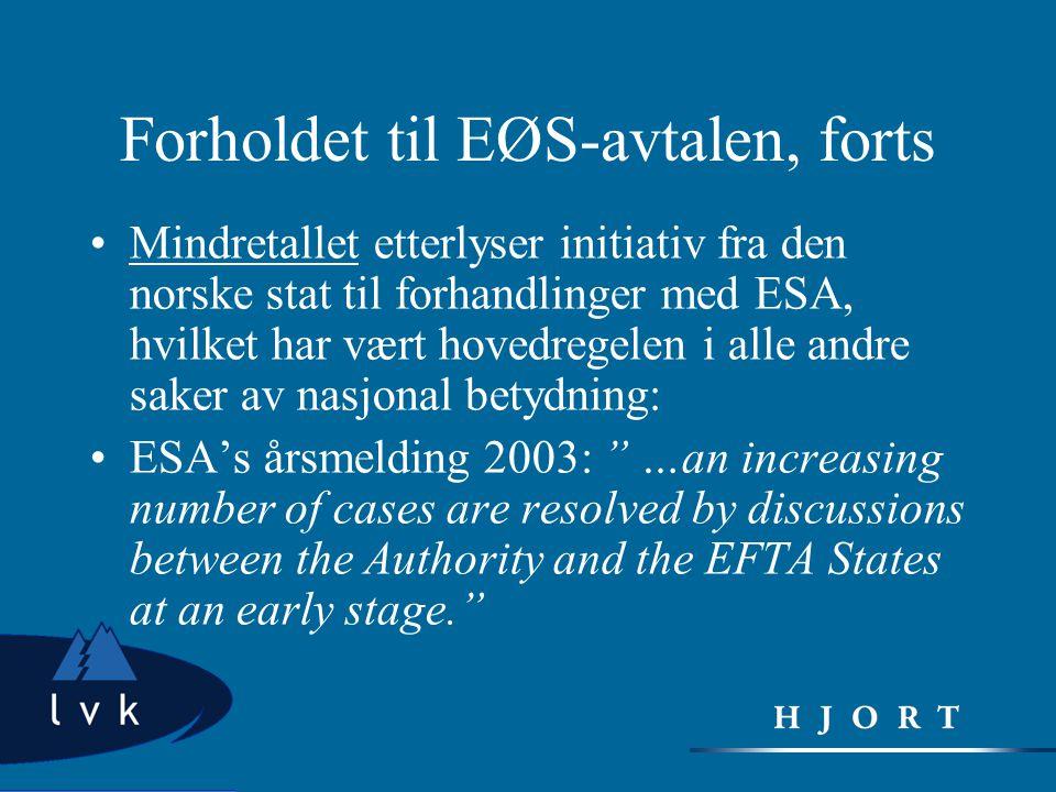 Forholdet til EØS-avtalen, forts