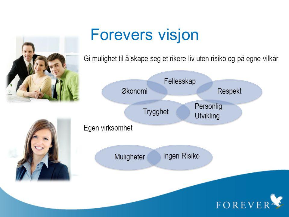 Forevers visjon Gi mulighet til å skape seg et rikere liv uten risiko og på egne vilkår. Egen virksomhet.