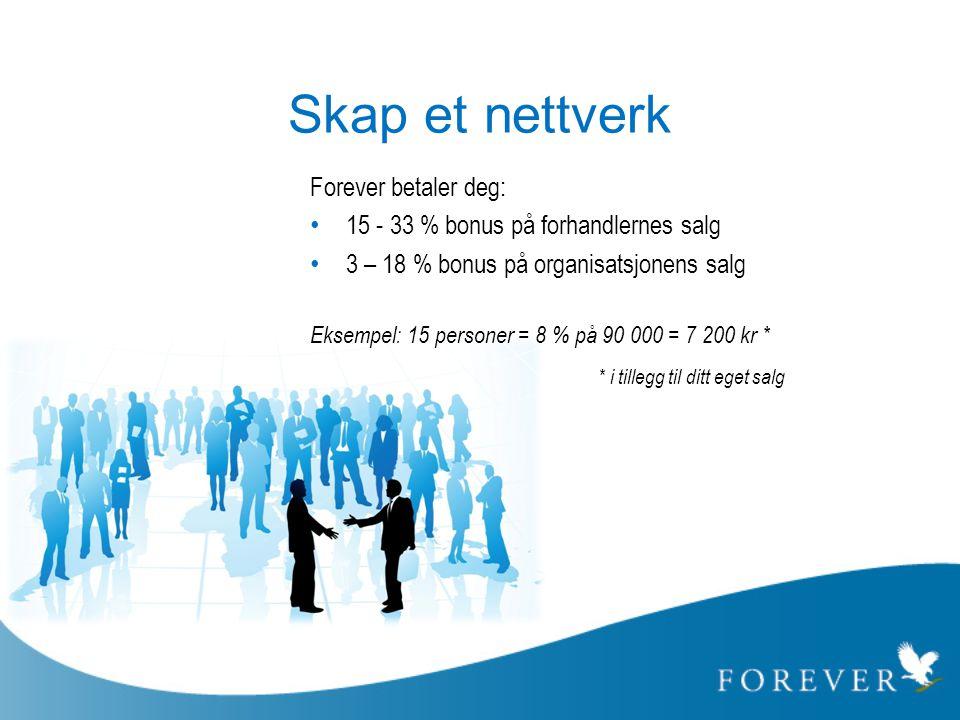 Skap et nettverk * i tillegg til ditt eget salg Forever betaler deg:
