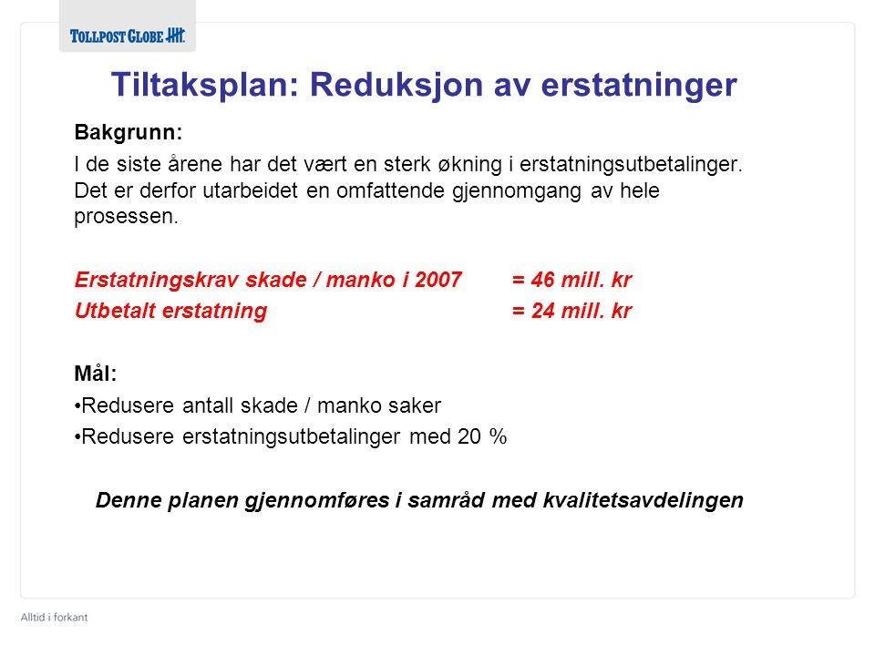Tiltaksplan: Reduksjon av erstatninger