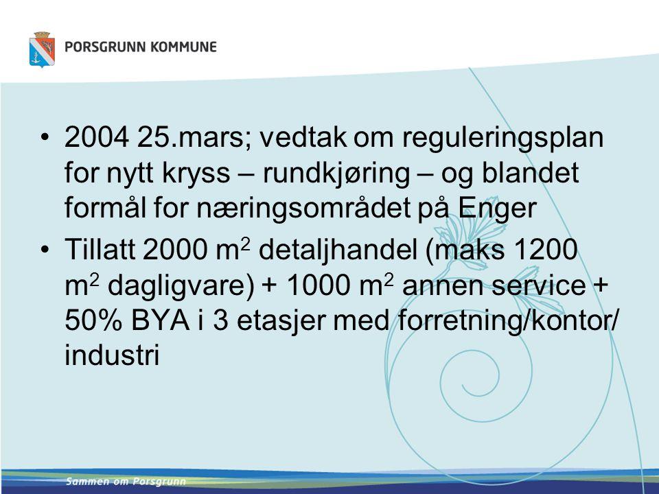 2004 25.mars; vedtak om reguleringsplan for nytt kryss – rundkjøring – og blandet formål for næringsområdet på Enger