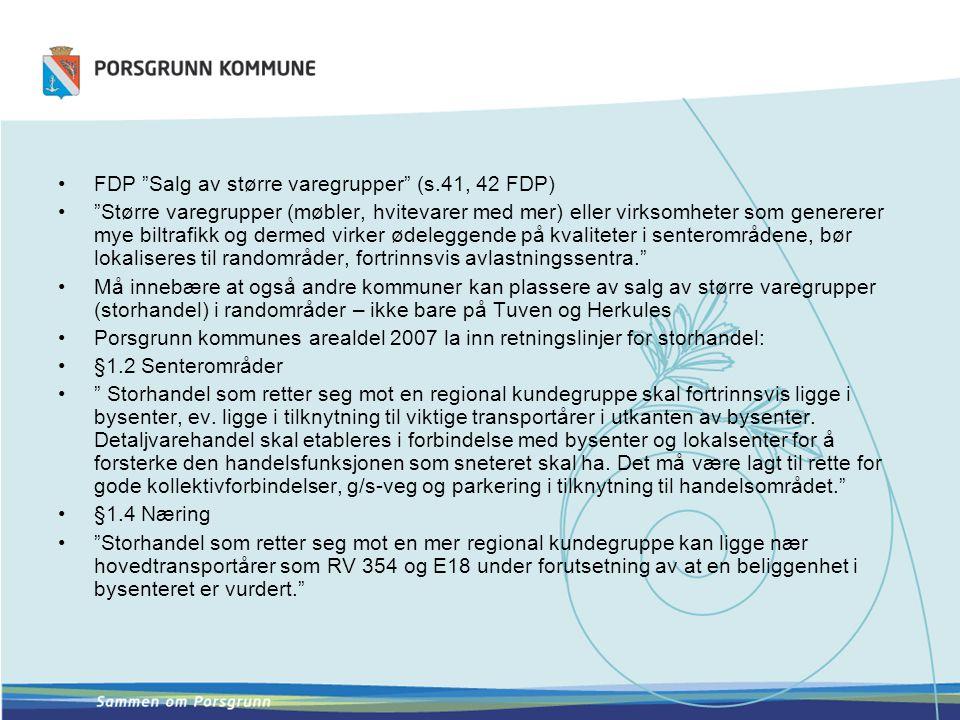FDP Salg av større varegrupper (s.41, 42 FDP)