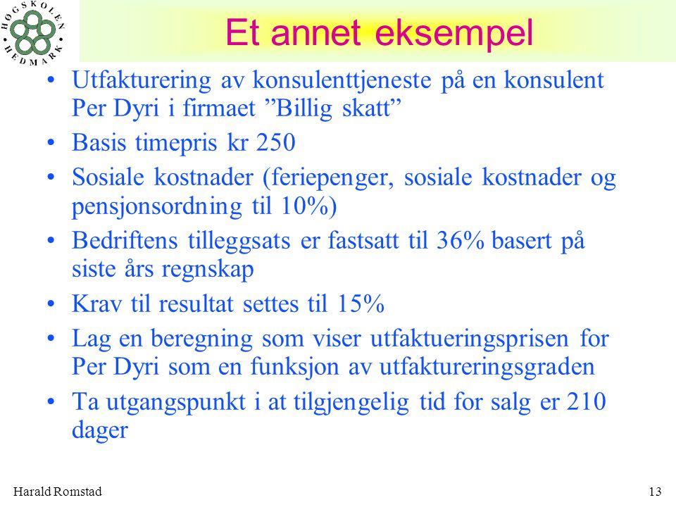 Et annet eksempel Utfakturering av konsulenttjeneste på en konsulent Per Dyri i firmaet Billig skatt