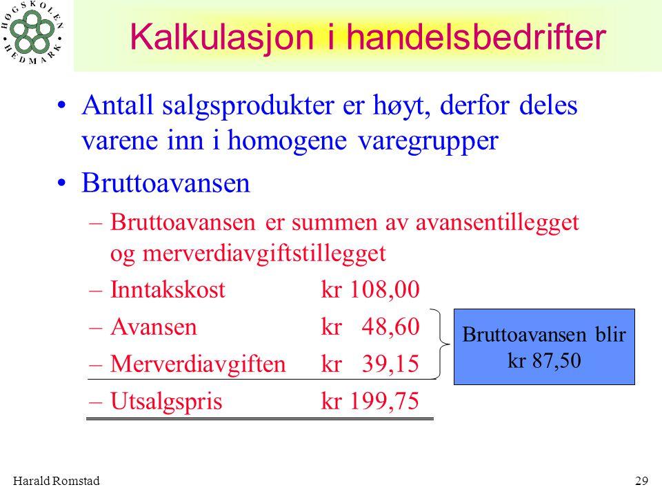 Kalkulasjon i handelsbedrifter
