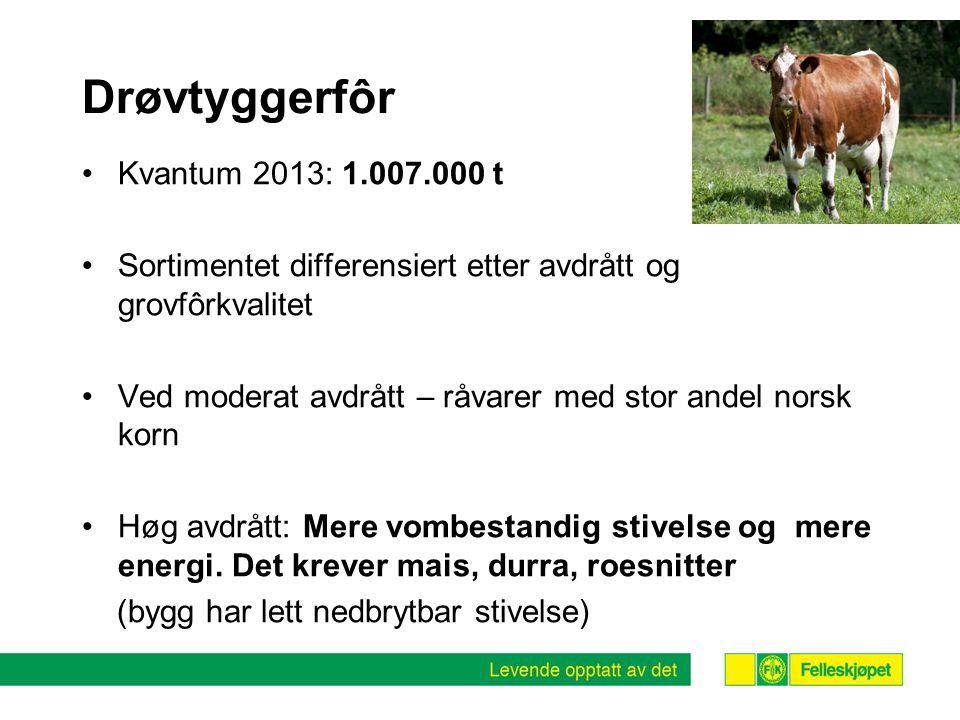 Drøvtyggerfôr Kvantum 2013: 1.007.000 t